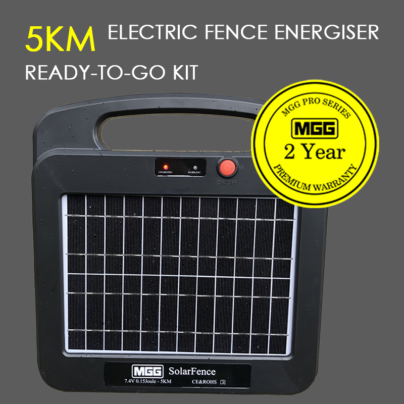 SOLAR ELECTRIC FENCE ENERGISER. HIGH SPEC 5-10KM LITHIUM #849